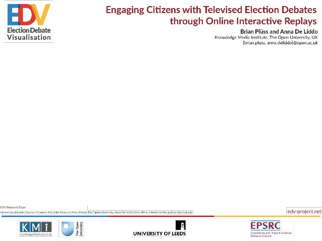 Engaging Citizens with Televised Election Debates  W through Online Interactive Replays Brian Pliiss and Anna De Liddo Kno...