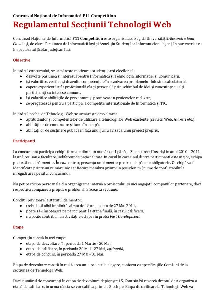 Concursul Național de Informatică F11 CompetitionRegulamentul Secțiunii Tehnologii WebConcursul Național de Informatică F1...