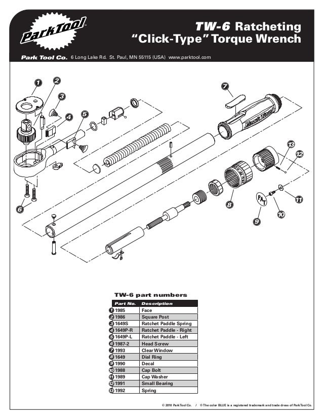 Tw 6 Parts Diagram: Torque Wrench Parts At Diziabc.com