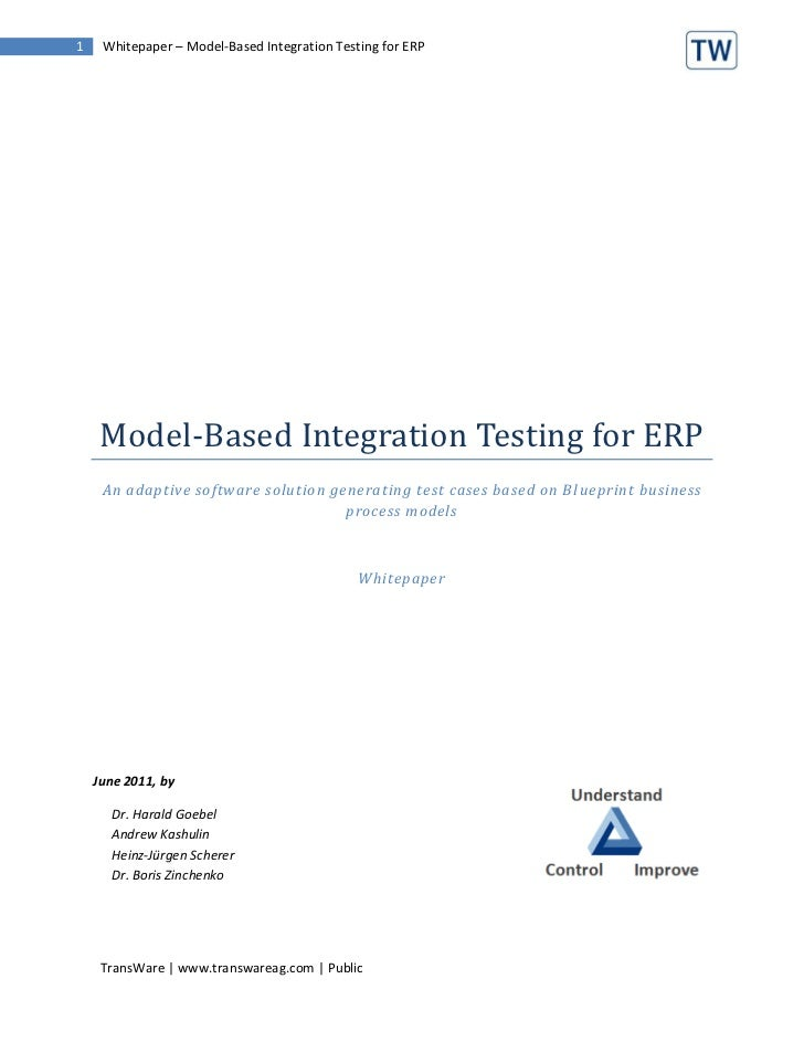 Model based testing for integration and regression tests in erp 1 whitepaper model based integration testing for erp model based integration testing for malvernweather Gallery