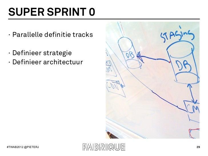 SUPER SPRINT 0· Parallelle definitie tracks· Definieer strategie· Definieer architectuur#TWAB2012 @PIETERJ             ...