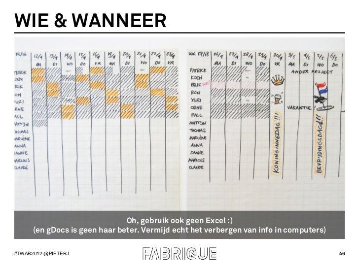 WIE & WANNEER                               Oh, gebruik ook geen Excel :)      (en gDocs is geen haar beter. Vermijd echt ...