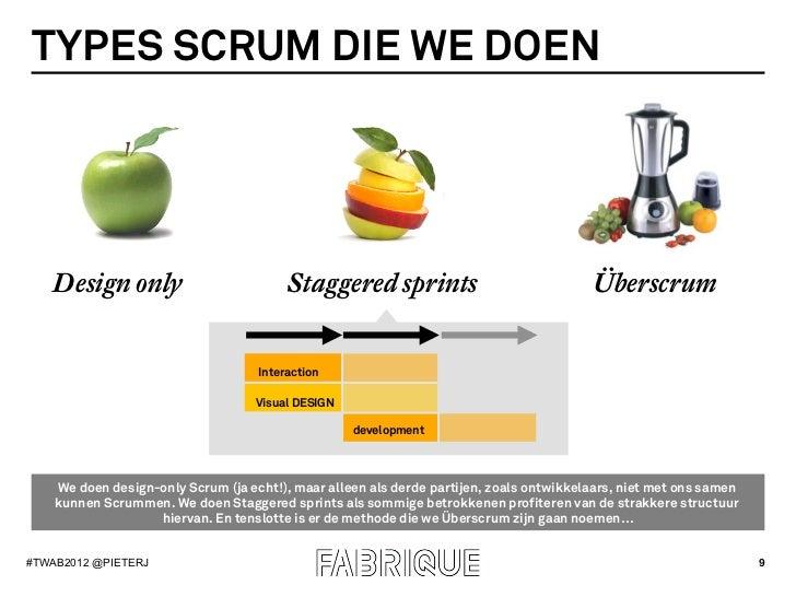 TYPES SCRUM DIE WE DOEN   Design only                           Staggered sprints                               Überscrum ...