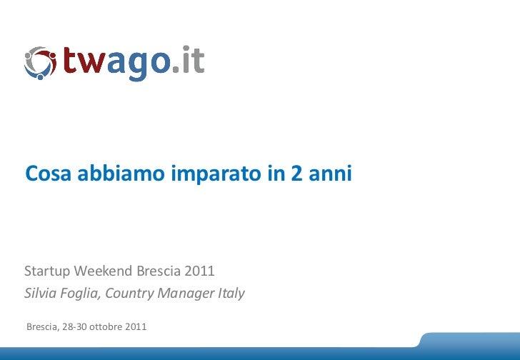Cosa abbiamo imparato in 2 anniStartup Weekend Brescia 2011Silvia Foglia, Country Manager ItalyBrescia, 28-30 ottobre 2011...