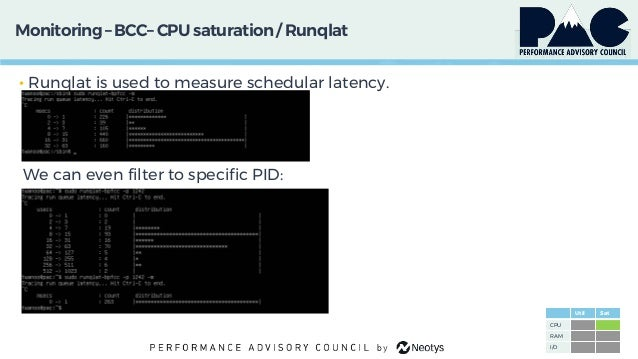 Monitoring– BCC– CPU saturation/ Runqlat • Runqlat is used to measure schedular latency. We can even filter to specific PI...