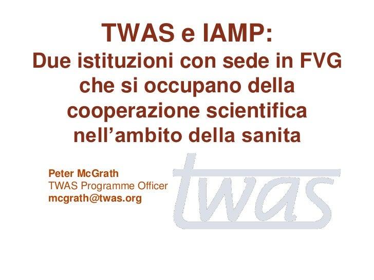 TWAS e IAMP:Due istituzioni con sede in FVG     che si occupano della   cooperazione scientifica    nell'ambito della sani...