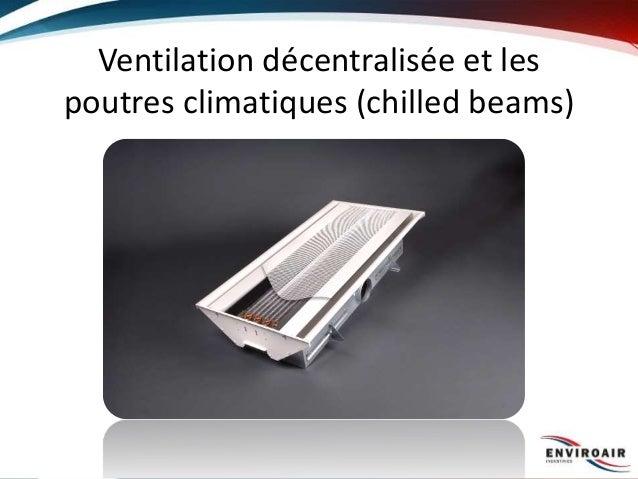 Ventilation décentralisée et les poutres climatiques (chilled beams)