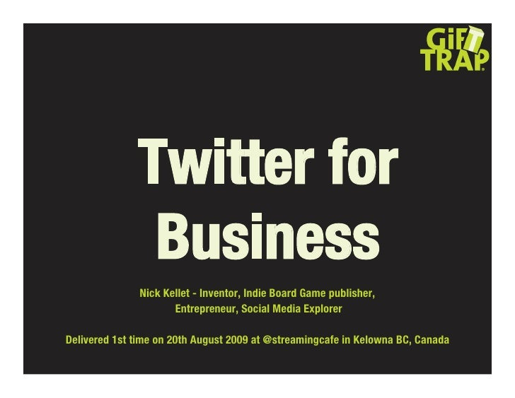 Twitter for                Business                Nick Kellet - Inventor, Indie Board Game publisher,                    ...