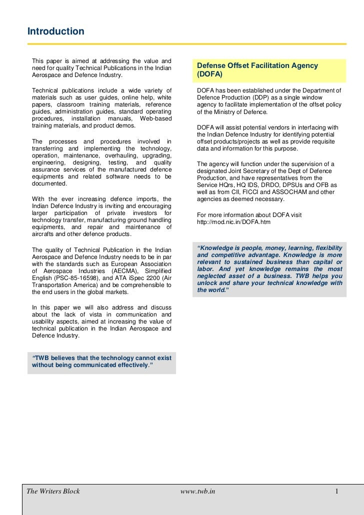 TWB Position Paper - Aerospace and Defence Industry Slide 3