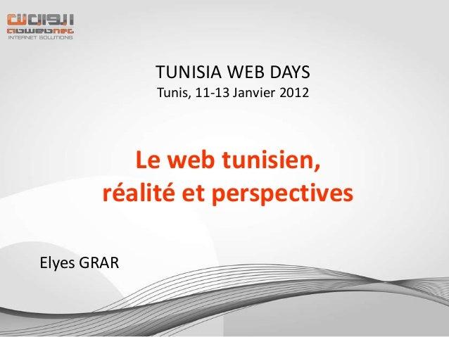 TUNISIA WEB DAYS             Tunis, 11-13 Janvier 2012          Le web tunisien,       réalité et perspectivesElyes GRAR
