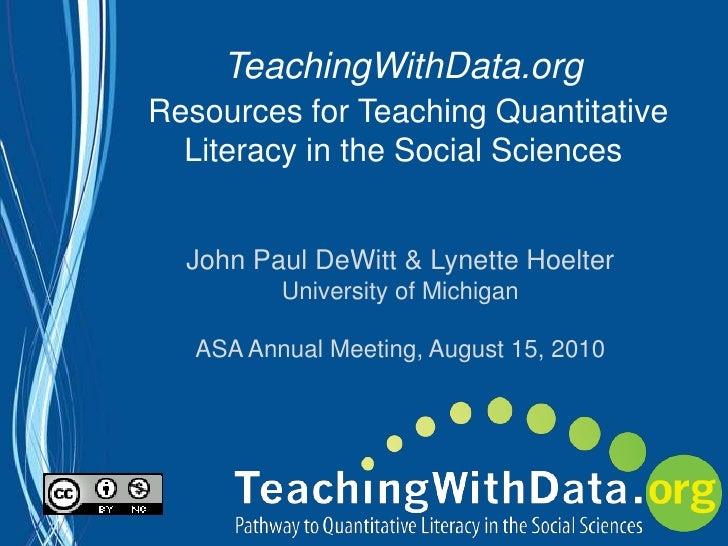 TeachingWithData.org ASA Presentation 2010