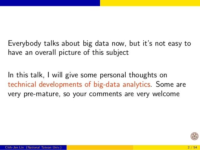 Everybody talks about big data now, but it's not easy to  have an overall picture of this subject  In this talk, I will gi...