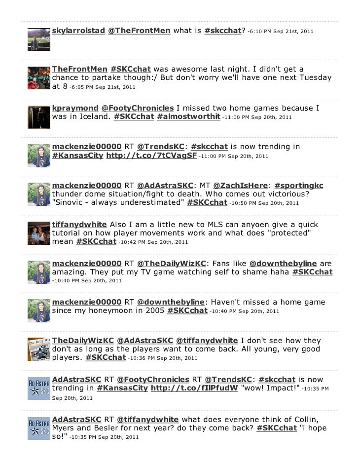 skylarrolstad @TheFrontMen what is #skcchat? -6:10 PM Sep 21st, 2011TheFrontMen #SKCchat was awesome last night. I didnt g...