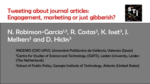 Tweeting about journal articles: Engagement, marketing or just gibberish? Slide 2