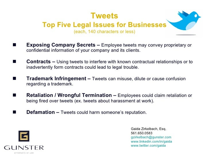 Tweets             Top Five Legal Issues for Businesses                              (each, 140 characters or less)     E...