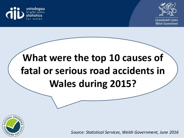What were the top 10 causes of fatal or serious road accidents in Wales during 2015? Source: Statistical Services, Welsh G...