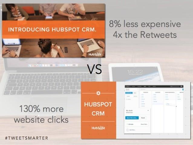 # T W E E T S M A R T E R VS 8% less expensive 4x the Retweets 130% more website clicks