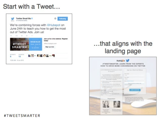 # T W E E T S M A R T E R Start with a Tweet… …that aligns with the landing page