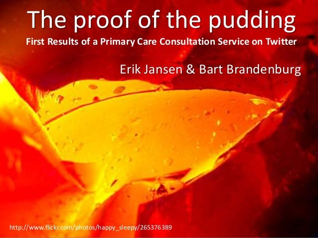 http://www.flickr.com/photos/happy_sleepy/265376389 The proof of the pudding First Results of a Primary Care Consultation ...