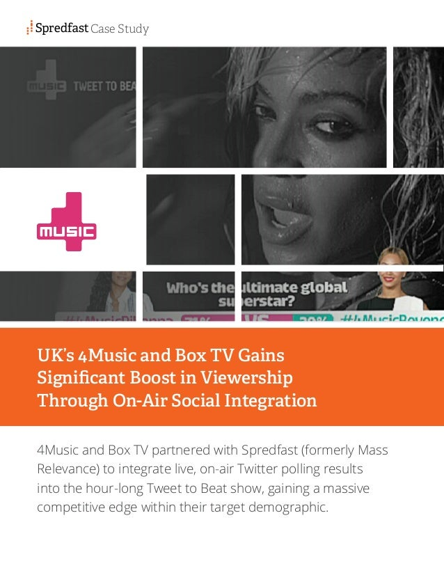 4Music and Box TV partnered with Spredfast (formerly Mass Relevance) to integrate live, on-air Twitter polling results int...