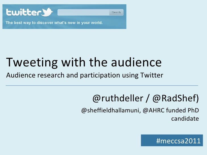 Tweeting with the audience Audience research and participation using Twitter @ruthdeller / @RadShef) @sheffieldhallamuni, ...