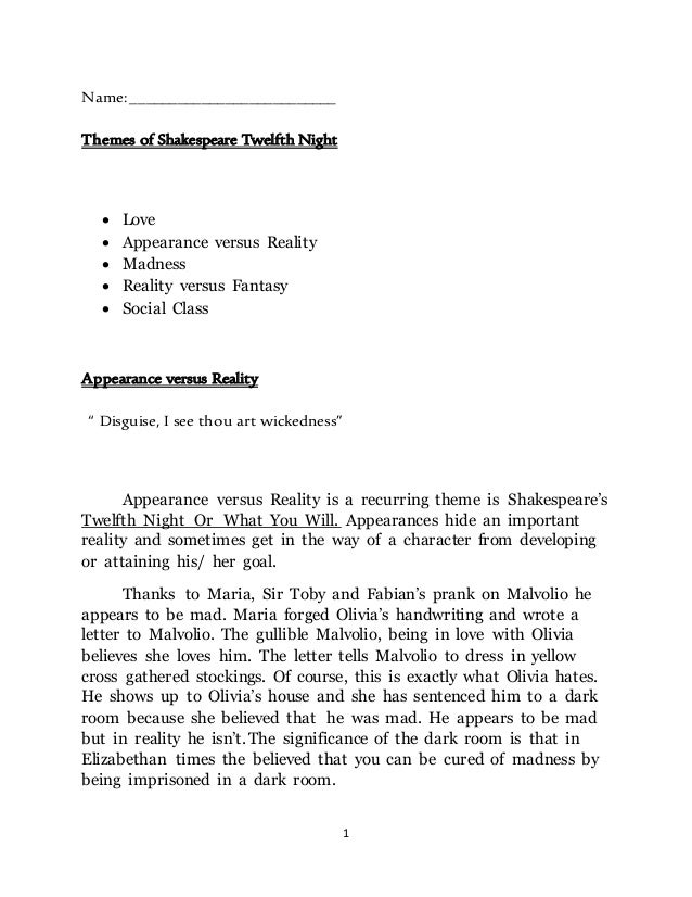 self deception in twelfth night essay Shakespeare's twelfth night: disguise, gender roles twelfth night opens in a scene with orsino self published in the abovementioned book.