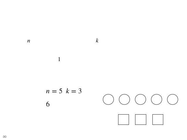 Balls and Boxes 6 • [問題] 難易度: 茶 • 個の区別できないボールを, 個の区別できる箱に入れると き、可能な入れ方の総数を求めよ. • どの箱にも、 つ以上のボールを入れる必要がある. • e.g. • [入力] , ...