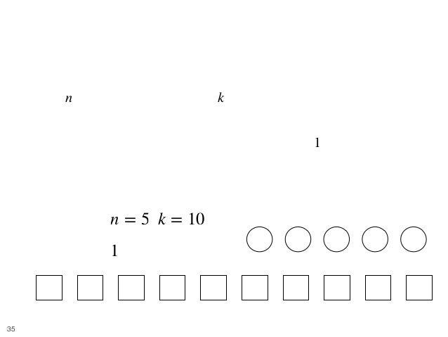 Balls and Boxes 8 • [問題] 難易度: 灰 • 個の区別できるボールを, 個の区別できない箱に入れると き、可能な入れ方の総数を求めよ. • 各箱に入れることのできるボールの数は高々 個とする. • e.g. • [入力] ...