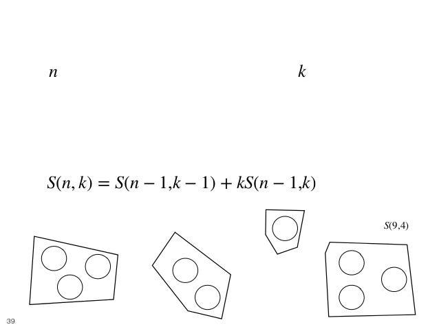 Balls and Boxes 9 • 個の区別できるボールをちょうど 個グループに 分ける方法を考えれば良い. • これは以下の漸化式で求めることができる. n k S(n, k) = S(n − 1,k − 1) + kS(n − 1,k)...