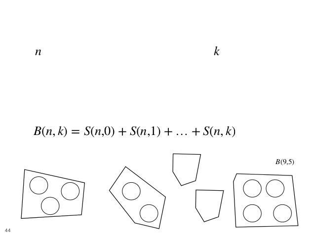 Balls and Boxes 7 • 個の区別できるボールをちょうど 個以下グルー プに分ける方法を考えれば良い. • これは以下の漸化式で求めることができる. n k B(n, k) = S(n,0) + S(n,1) + … + S(n,...