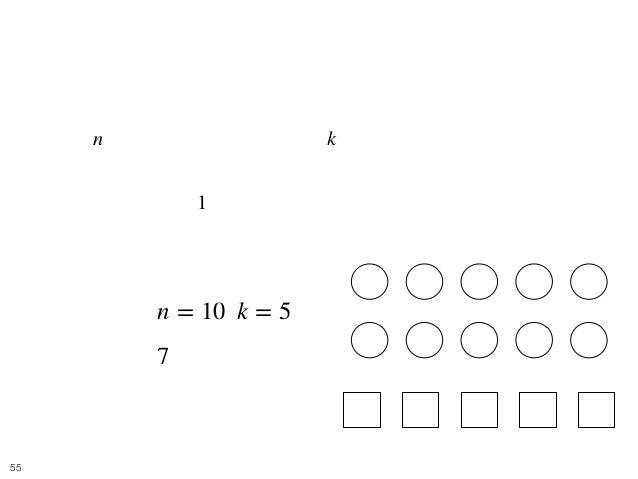 Balls and Boxes 12 • [問題] 難易度:青 • 個の区別できないボールを, 個の区別できない箱に入れると き、可能な入れ方の総数を求めよ. • どの箱にも、 つ以上のボールを入れる必要がある. • e.g. • [入力] ,...