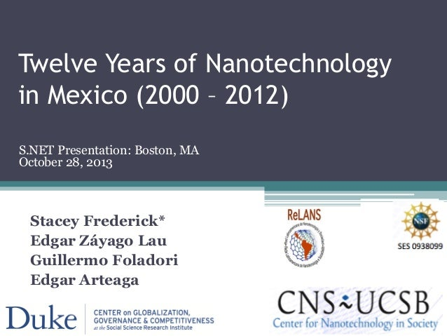 Twelve Years of Nanotechnology in Mexico (2000 – 2012) Stacey Frederick* Edgar Záyago Lau Guillermo Foladori Edgar Arteaga...