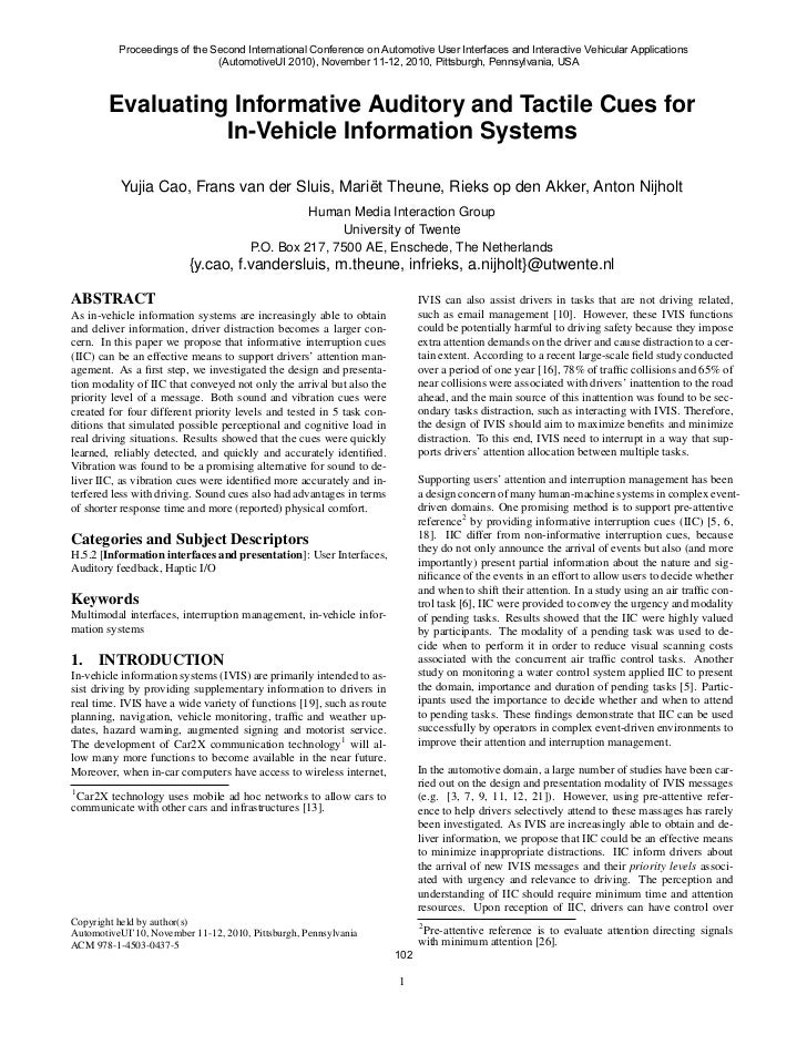 Proceedings of the Second International Conference on Automotive User Interfaces and Interactive Vehicular Applications   ...