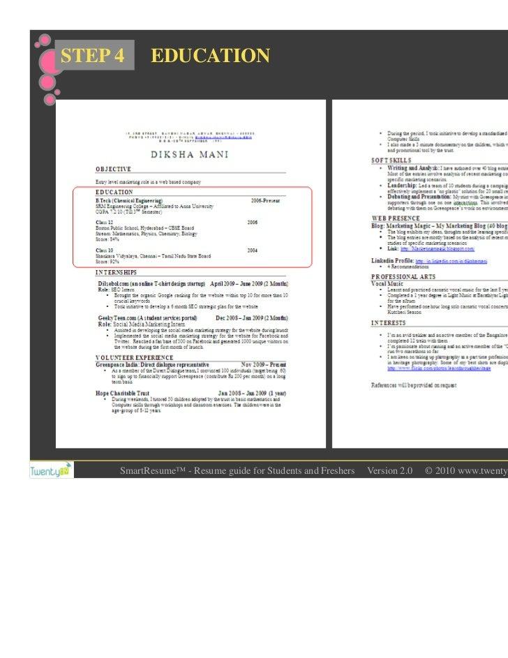 twenty19 smart student resume guide