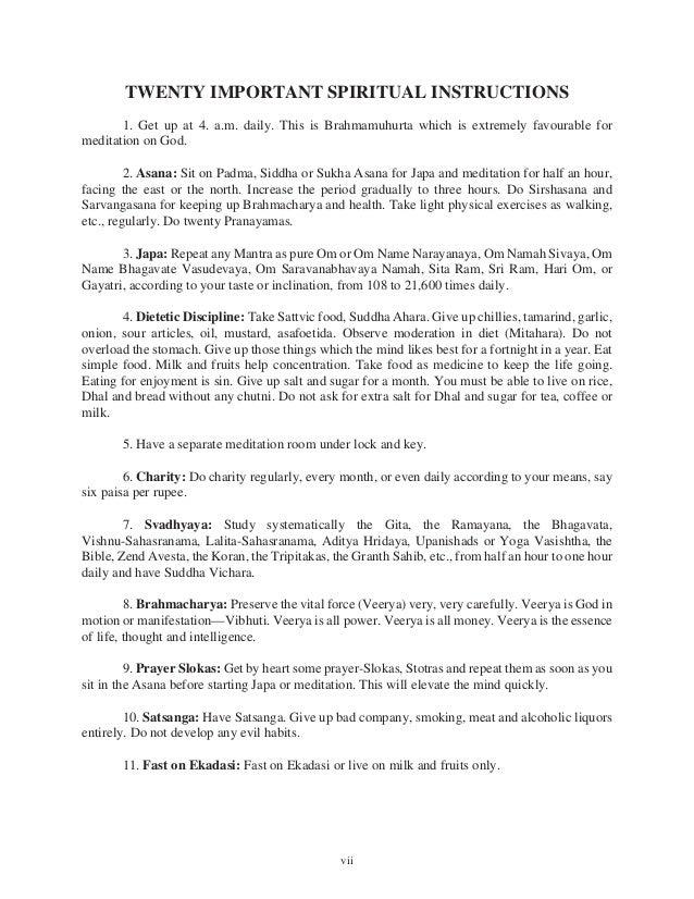 Twenty important spiritual_instructions