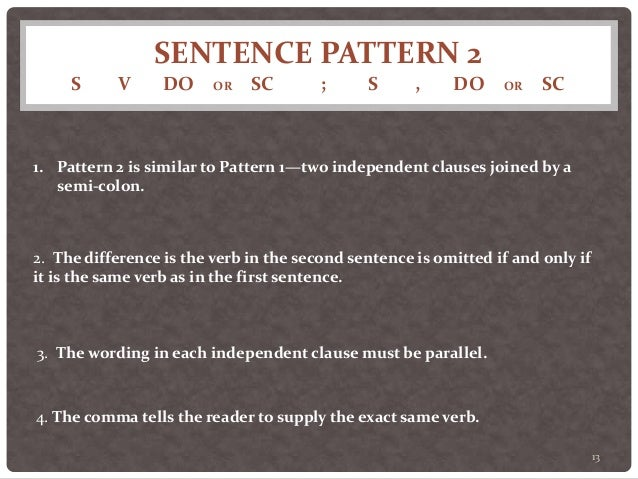 Twenty Sentence Patterns--a brief description of patterns