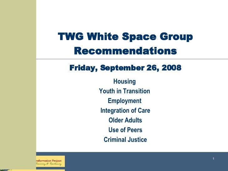 TWG White Space Group Recommendations Friday, September 26, 2008 Housing  Youth in Transition  Employment  Integration of ...