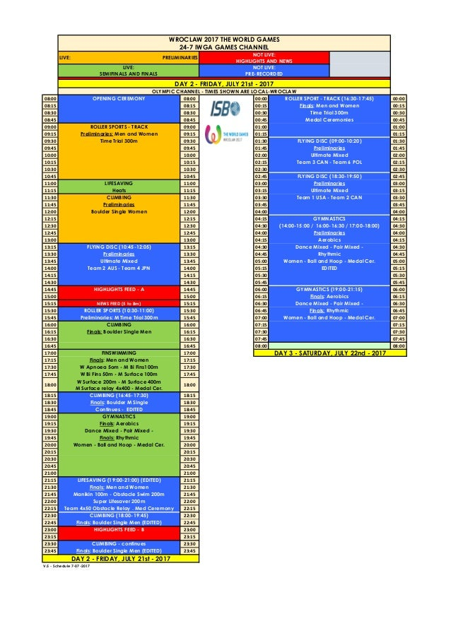 Horarios de los Juegos Mundiales /Schedules for The World Games Slide 2