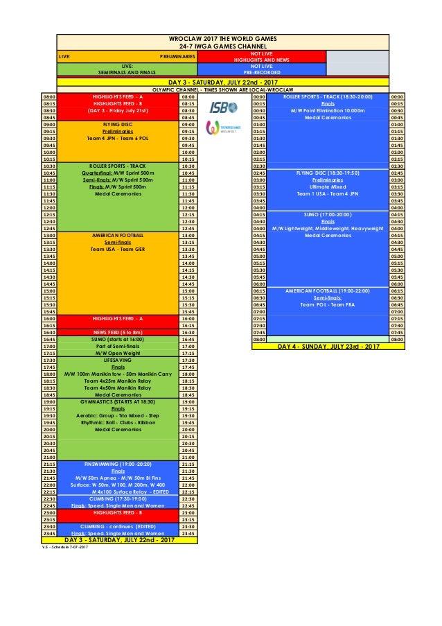 Horarios de los Juegos Mundiales /Schedules for The World Games Slide 3