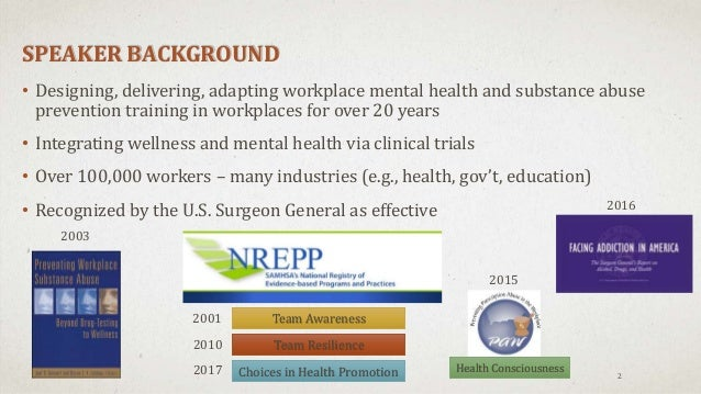Three Approaches to Workplace Alcohol, Drug, and Rx Prevention: 20 Years of Research to Practice Slide 2