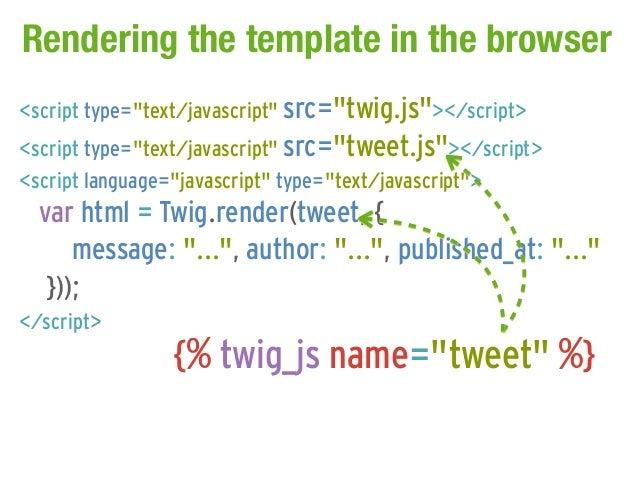 "Rendering the template in the browser<script type=""text/javascript"" src=""twig.js""></script><script type=""text/javascript"" ..."