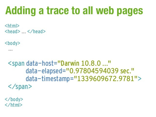 """Adding a trace to all web pages<html><head> ... </head><body> ... <span data-host=""""Darwin 10.8.0 ...""""       data-elapsed=""""..."""
