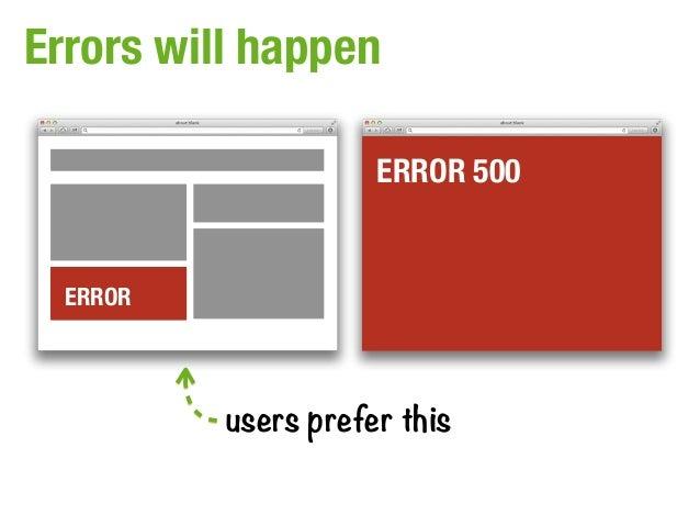 Errors will happen                     ERROR 500  ERROR          users prefer this