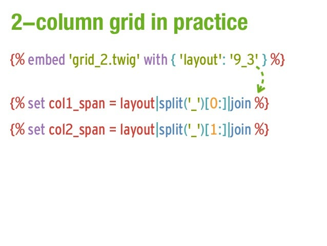 2-column grid in practice{% embed grid_2.twig with { layout: 9_3 } %}{% set col1_span = layout|split(_)[0:]|join %}{% set ...