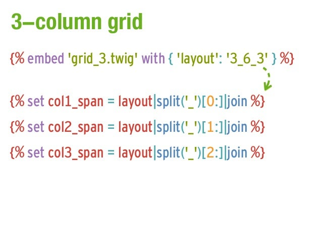 3-column grid{% embed grid_3.twig with { layout: 3_6_3 } %}{% set col1_span = layout|split(_)[0:]|join %}{% set col2_span ...