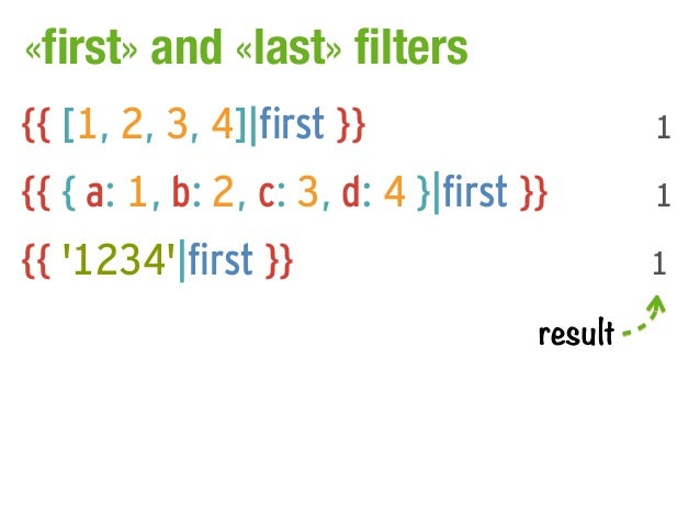 «first» and «last» filters{{ [1, 2, 3, 4]|first }}                      1{{ { a: 1, b: 2, c: 3, d: 4 }|first }}        1{{...