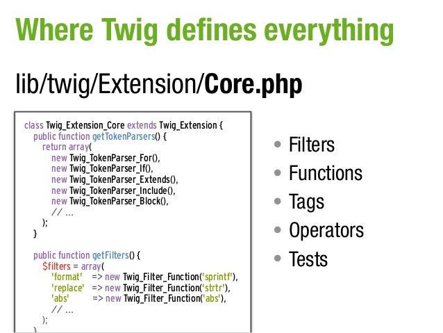 Where Twig defines everythinglib/twig/Extension/Core.phpclass Twig_Extension_Core extends Twig_Extension {   public functi...