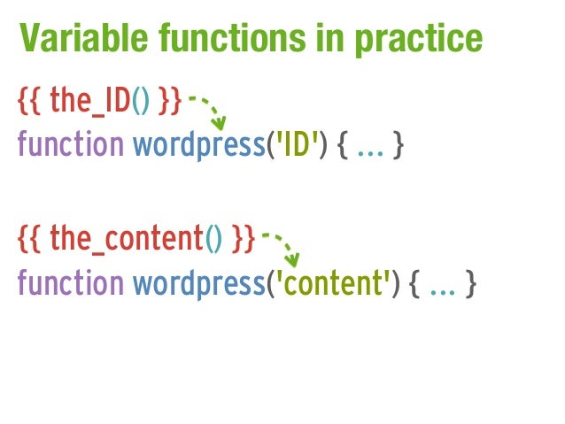 Variable functions in practice{{ the_ID() }}function wordpress(ID) { ... }{{ the_content() }}function wordpress(content) {...
