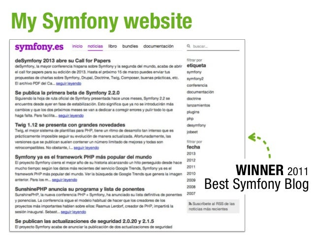 My Symfony website                          WINNER 2011                     Best Symfony Blog