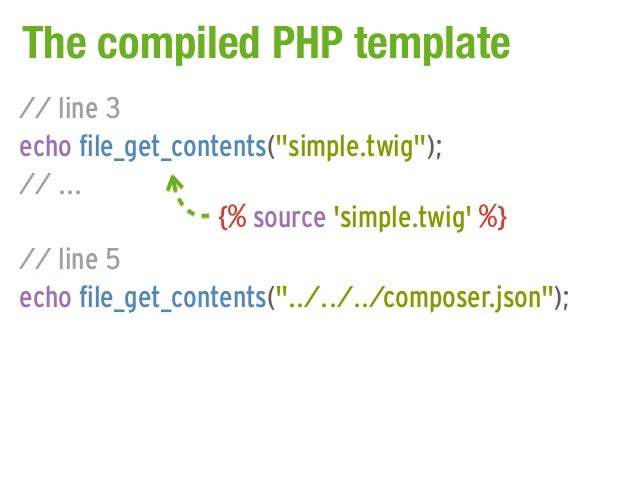 "The compiled PHP template// line 3echo file_get_contents(""simple.twig"");// ...                  {% source simple.twig %}//..."